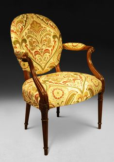 ace90ccafec8 Exquisite Hepplewhite Period Mahogany Salon Armchair made in about 1775.  Superb carving to the showwood