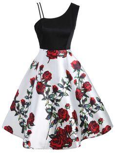 Stylish Asymmetric Sleeveless Floral Dress, Rose / S Cute Prom Dresses, Trendy Dresses, Dance Dresses, Elegant Dresses, Sexy Dresses, Vintage Dresses, Casual Dresses, Summer Dresses, Formal Dresses