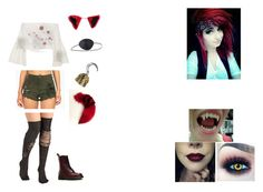 """""""Female human! Foxy // Five Nights At Freddy's 1"""" by shadow-182 ❤ liked on Polyvore featuring Dr. Martens, Rosetta Getty, Vibrant, KAOS, Vision and Maison Kitsuné"""