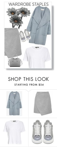 """""""Wardrobe Staples: White T-Shirt"""" by stefaniekmasters ❤ liked on Polyvore featuring Zara, rag & bone/JEAN, Alexander McQueen, Givenchy, WardrobeStaple, sneakers, whitetshirt, givenchybag and grayskirt"""