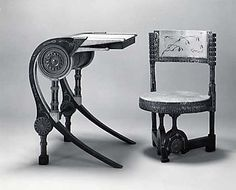 Carlo Bugatti writing desk and chair