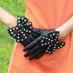 Genuine Leather Fashion Gloves Bowknot Gloves