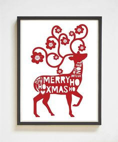 Merry XMas Deer  Scandinavian Christmas by SassMouthPrints on Etsy  Merry XMas Deer   Scandinavian Christmas Printable   Digital Print   Merry Christmas   XMas Wall Decor   Christmas Print   Deer Print