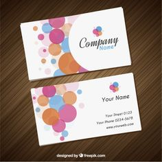Visit card with colorful circles Free Vector
