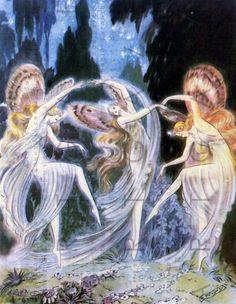 FAIRIES Of The Night STUNNING Art Nouveau Illustration. Vintage Fairy Image. Vintage Digital Fairy Download