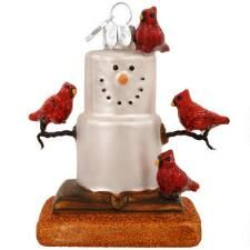 S'more With Cardinals Glass Ornament