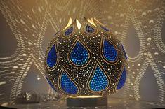 Blue Drops Handmade Gourd Lamp
