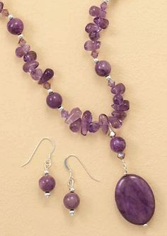 """""""3mm Sterling Silver/Amethyst Chip/4.5mm Crystal/13.5mm Sugilite Beads Necklace ONLY, 18 inch"""""""