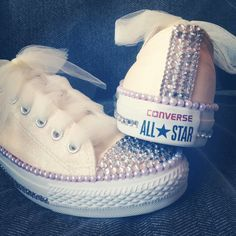Weddings: DIY Bedazzled wedding converse! 5mm flat back pearls, a combination of 3mm and 5mm rhinestones, clear glitter paint, and ivory tulle.