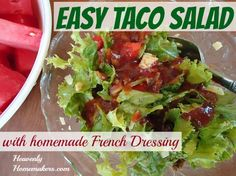 Back in the day when I didn't know what high fructose corn syrup was or understand that it was bad for us…I used to make a killer taco salad with Catalina Salad Dressing. Man that stuff tasted good! I'd mix up a big bowl of lettuce, taco seasoned meat, shredded cheese, chopped tomatoes, chili beans, …