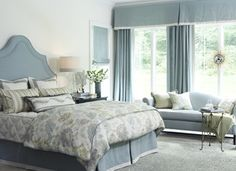 Pinned for tailored bedskirt and valance design - also fresh look for updating a Queen Ann sofa. Heirloom Bedroom