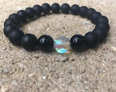 8mm black onyx bracelet, men's women's bracelet, onyx gemstone bracelet 8mm bracelet,rainbow Quartz onyx bracelet