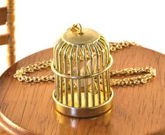 Bird Cage Necklace Birdcage Pendant by twopennylane on Etsy, £12.99