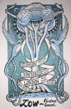 Phlegm's poster for Low's UK Christmas Concert tour in 2008  Decorate the great oak with little lights