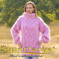 Bespoke cable knit mohair sweater hand knitted unique pullover by SuperTanya Cable Sweater, Mohair Sweater, Cable Knit, Turtleneck, Icelandic Sweaters, Mohair Yarn, Knitted Shawls, Sweaters For Women, Women's Sweaters
