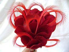 Ruby Red Velvet Flower and Feather Headband     $20.00