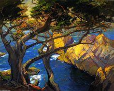 Cleft-Born Trees, Monterey, Oil On Canvas by Franz Bischoff (1864-1929, Austria)