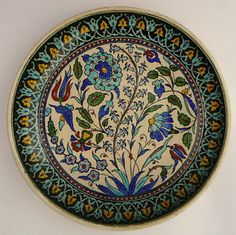Antique-Ottoman-Turkish-Iznik-Kutahya-Plate-Faience-Pottery-Ceramic-Charger
