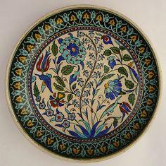 Antique-Ottoman-Turkish-Iznik-Kutahya-Plate-Faience-Pottery-Ceramic-Charger