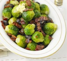 Brussels sprouts with bacon & chestnuts Buttered sprouts with chestnuts & bacon recipe - Recipes - BBC Good Food Xmas Food, Christmas Cooking, Christmas Food List, Dinner Party Recipes, Holiday Recipes, Christmas Recipes, Bbc Good Food Recipes, Cooking Recipes, Diner Recipes