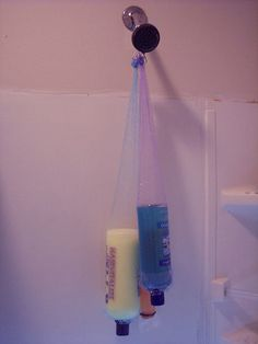 Recycled shower puffs ... converted to shampoo holder.