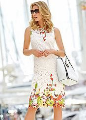 Floral Print Border Lace Shift Dress