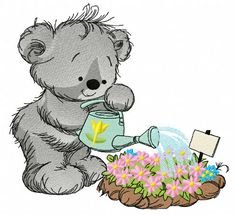 Teddy bear with watering can 6 machine embroidery design. Machine embroidery design. www.embroideres.com