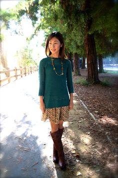 Long sweater, skirt, boots