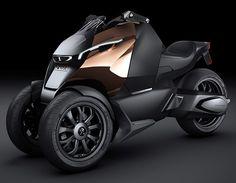 De face, le concept-scooter Peugeot Onyx n'est pas sans rappeler la gamme 4 roues