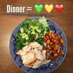 Rotisserie Chicken with Roasted Sweet Potatoes & Salad Green 1 Yellow 1 Red) // 21 Day Fix // fitness // fitspo // workout // motivation // exercise // Meal Prep // diet // nutrition // Inspiration // fitfood // fitfam // clean eating // recipe // recipes 21 Day Fix Diet, 21 Day Fix Meal Plan, Clean Eating Diet, Clean Eating Recipes, Chicken Honey, Red Chicken, Roasted Chicken, Grilled Chicken, Nutrition Sportive