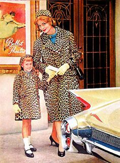 """Vintage Matching """"mommy and me"""" leopard coats."""