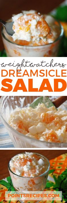 Orange Dreamsicle Salad 1 box instant vanilla pudding, sugar-free 1 can mandarin oranges, drained 1 container fat-free Cool Whip, 8 oz l box sugar free Orange Jello (Weight Watchers Coconut Cake) Weight Watcher Desserts, Weight Watchers Meals, Ww Recipes, Skinny Recipes, Salad Recipes, Cooking Recipes, Recipies, Jello Pudding Recipes, Pudding Desserts