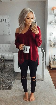 #spring #outfits Red Knit & Black Ripped Skinny Jeans