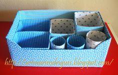 Art & Casa:  Caixas de sapato, de leite e suco. Rolinhos de papel-higiênico e de toalha de papel.