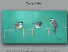"""Featuring fun little chickadees, this artwork was designed for laundry room decor or bathroom wall art. Colors work well with yellow, turquoise green, teal green, red, orange, brown, black, or gray. Theres also a teal blue version available (see photo #4 or link under more options). ►► DETAILS ►►PLEASE READ ☼ Titled: """"Teal the Next Laundry Day"""" ☼ Medium: High quality Giclée canvas print of original painting by Denise Cunniff. All ArtFromDenise prints are made to order and NOT mass…"""