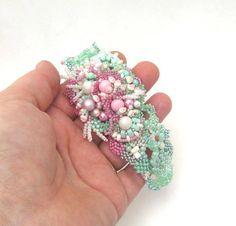 Seed bead bracelet cuff, Beaded jewelry, Beadwork bracelet, Freeform peyote bracelet, Sage green, mint and pink, summer romantic