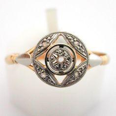Bague ancienne or platine et diamants 487