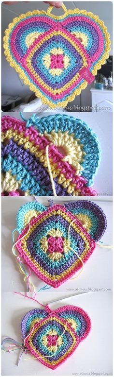 Handy Heart Shape Potholders FREE Crochet Pattern & Tutorial
