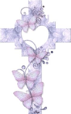 Purple Glitter Graphics | Glitter Graphics » Misc » Cross with Butterflies