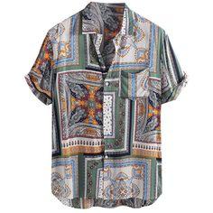 Description Shirts Type: Casual Shirts Sleeve Length(cm): Short Material: COTTON Fabric Type: Broadcloth Collar: Turn-down Collar Style: Casual Sleeve Style: REGULAR Men Fashion Shirts: Casual Multicolor Striped Lapel Shirts Mens Printed Shirts, Printed Shorts, S Shirt, Shirt Style, Crop Shirt, Shirt Men, Summer Shirts, Hawaii Shirts, Summer Tops