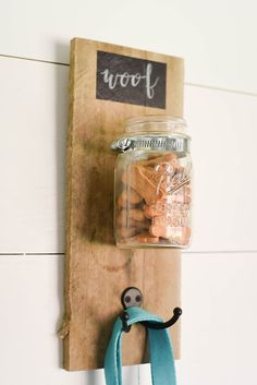 Dog Treat and Leash Mason Jar Holder - Our Handcrafted Life