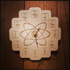 An element clock...not quite an atomic clock, but close!  https://www.etsy.com/listing/163484388/wood-periodic-table-clock-baltic-birch