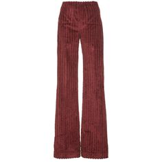 Isa Arfen Supersize Corduroy That 70'S Pant ($935) ❤ liked on Polyvore featuring pants, high waisted corduroy pants, highwaisted pants, cordoroy pants, red trousers and red high waisted pants
