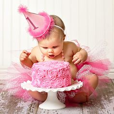 Adorable Pretty in Pink 1st Birthday Party-love this idea too, Gracie looks beautiful in pink.