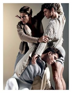 Benjamin Warbis, Cameron McMillan & Thom Morell (top L) are Dancers for Attitude, May 2012