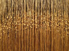 """A close-up of the golden work from the exhibit """"Olga de Amaral: Selected Works,"""" which was on view at the Louise Blouin Foundation, at 3 Olaf Street, London, from October 14-30, 2013. #textile"""