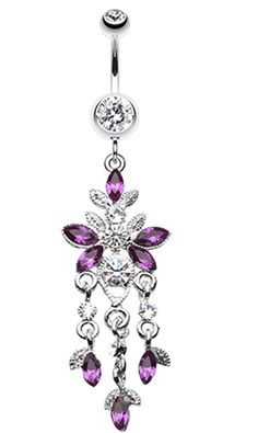 Butterfly Sparkle Droplets Belly Button Ring