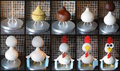 Chicken cake. It is created by Gina Rouchy .    http://ginas-cakes.deviantart.com/