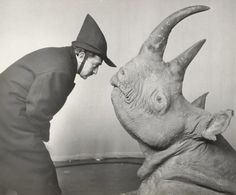 ART IS ALIVE: Salvador Dalí and a rhino.