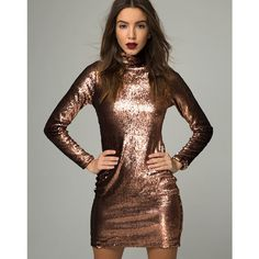 Surt Bodycon Dress in Metallic Sequin Copper by Motel (91 BAM) ❤ liked on Polyvore featuring dresses